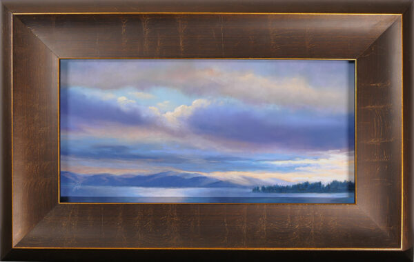 Pastel painting of Flathead Lake with sunlight breaking through in a frame.