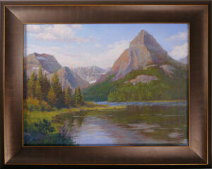 Photo of pastel painting with frame of Glacier National Park.