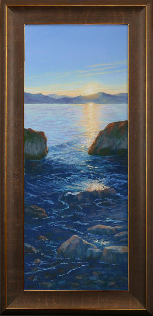 Pastel painting of rocks in Flathead Lake during sunset.