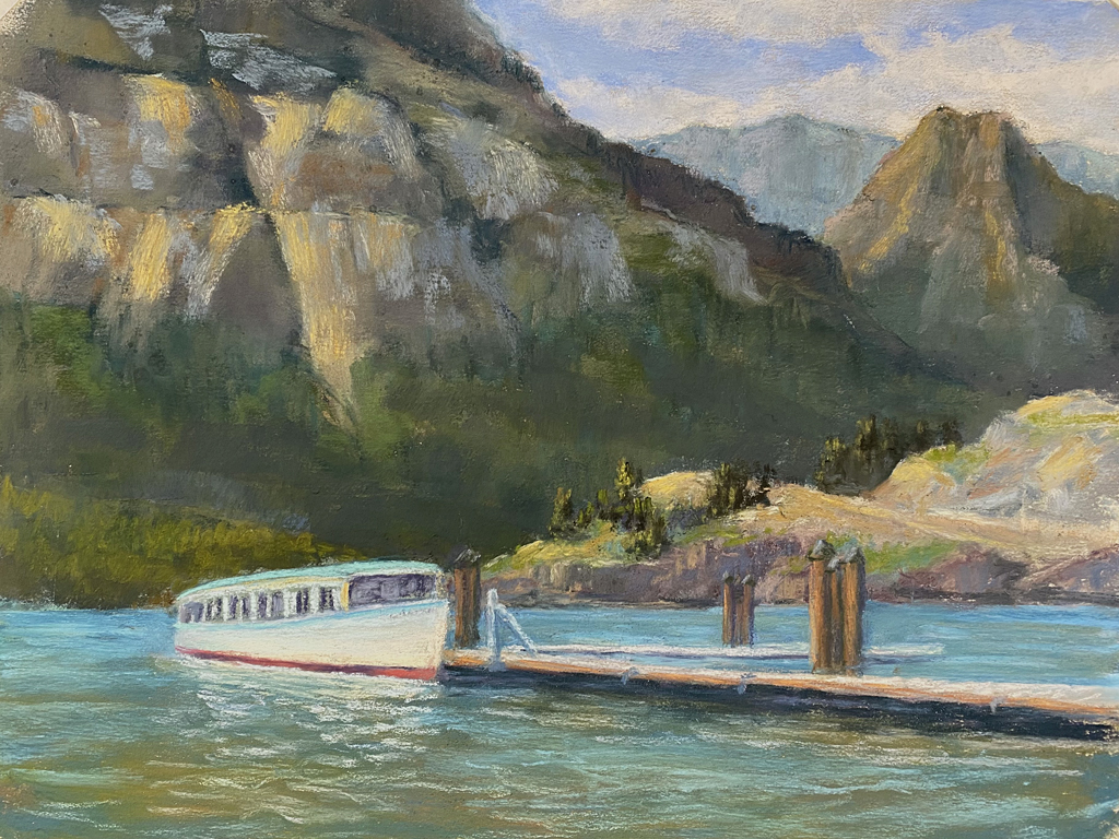 Photo of pastel painting of Little Chief at St. Mary's boat launch.