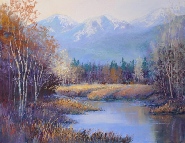 Pastel painting of the north shore of Flathead Lake with the autumn golds and oranges.