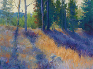 Pastel painting of Crane Mountain with sunlight streaming through the trees.