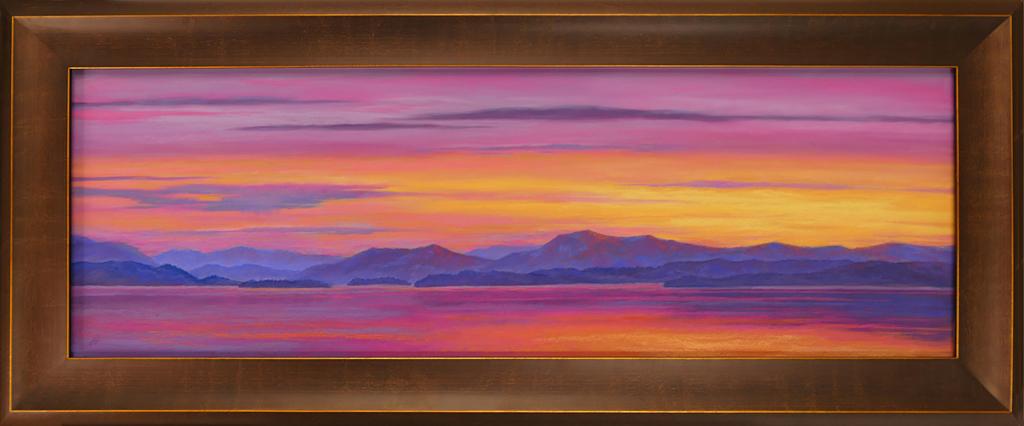 Pastel painting of Flathead Lake during a sunset.