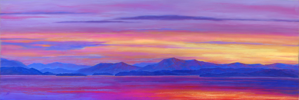 Pastel painting of Flathead Lake during sunset.