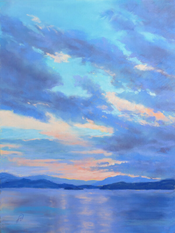 Pastel painting of a sunset over Big Arm on Flathead Lake, Montana.