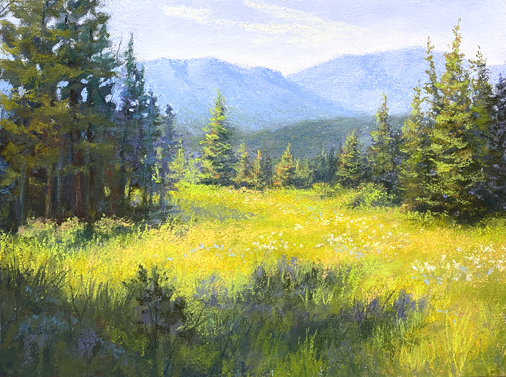 Photo of a pastel painting of a meadow.