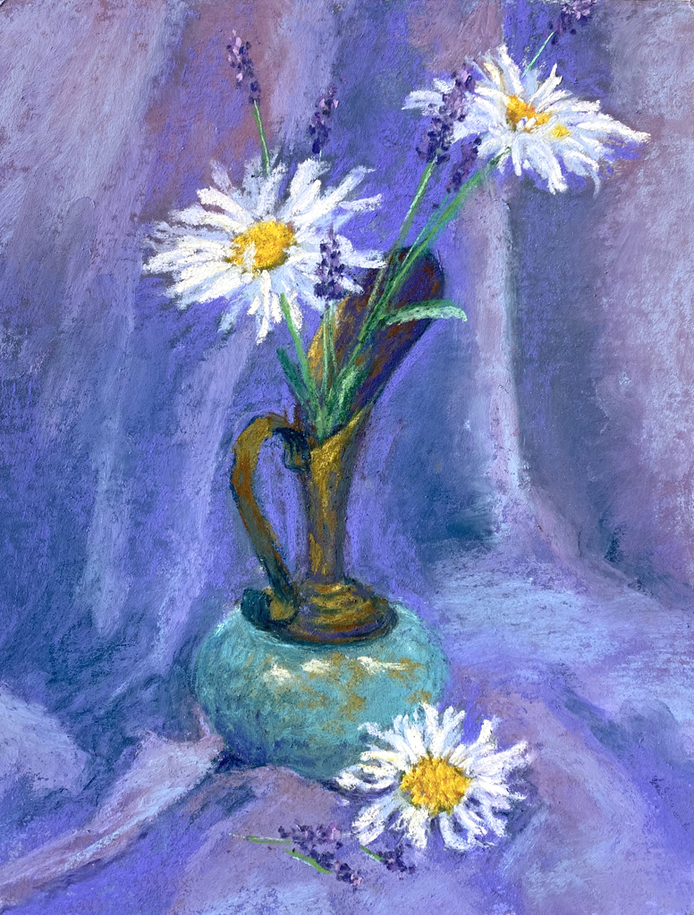 Photo of a pastel painting of flowers.