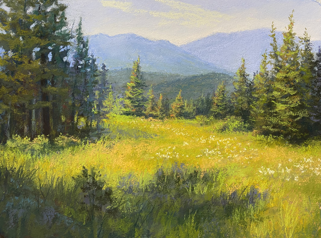 Painting of a meadow.