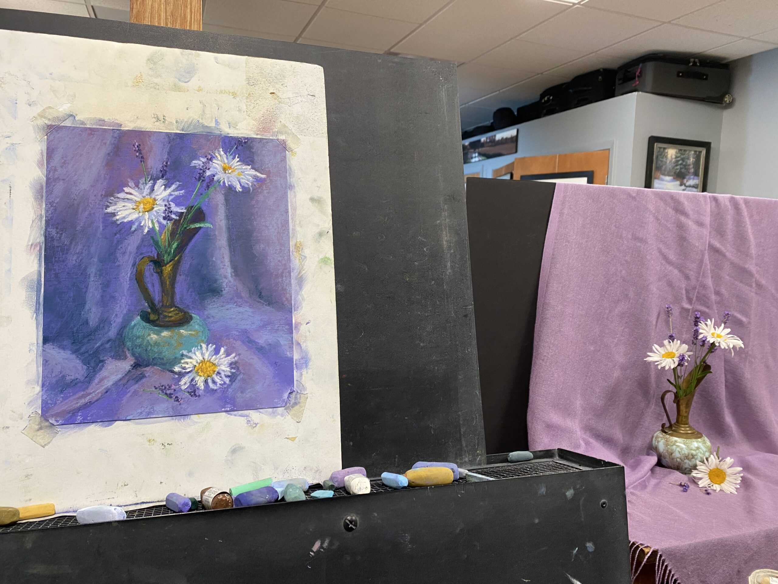 Photo of the setup for a still life painting.