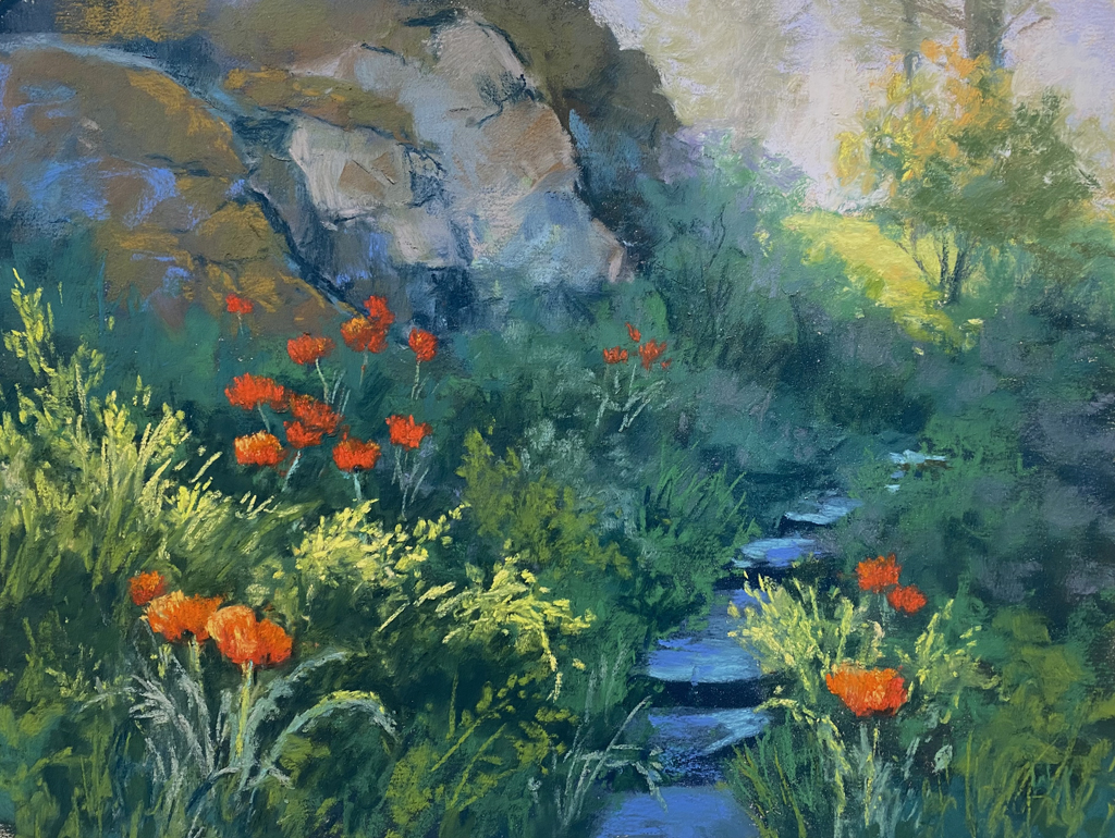Pastel painting of poppies and a path.