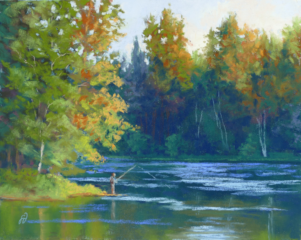 Photo of a pastel painting of a person fishing on the Swan River.