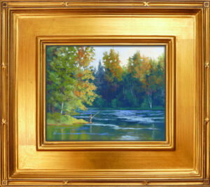 Photo of a pastel painting of someone fishing on the Swan River with frame.