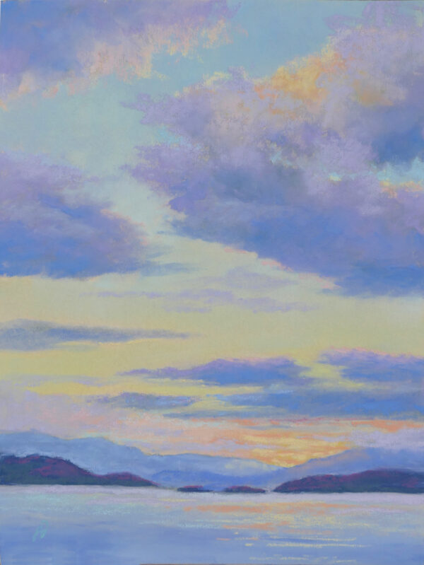 Photo of a painting of a Flathead Lake sunset.