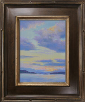 Photo of a pastel painting of a Flathead Lake sunset with frame.
