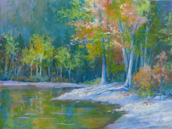 Photo of a painting of lakeside trees in pastel.