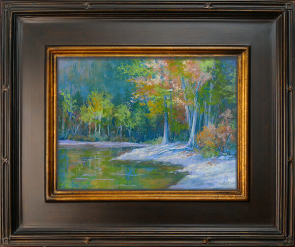 Photo of a painting of lakeside trees in pastel with frame.