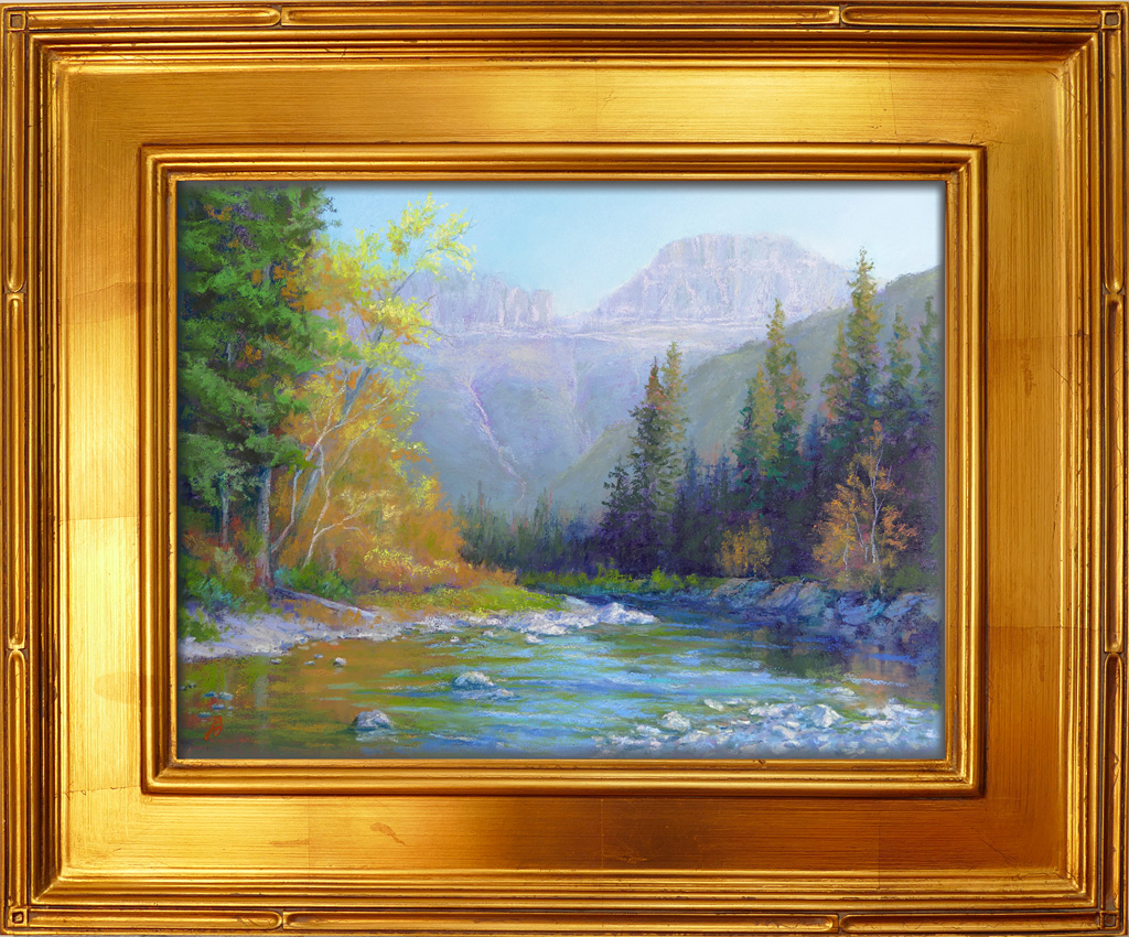 Photo of a pastel painting of McDonald Creek in Glacier National Park with frame.