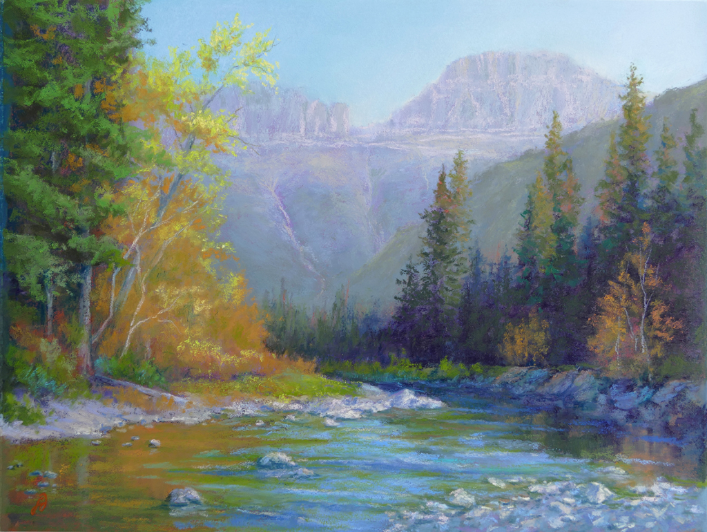 Photo of a pastel painting of McDonald Creek in Glacier National Park.
